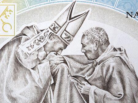 John Paul II with cardinal Wyszynski portrait from Polish money