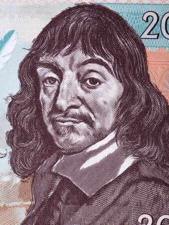 Rene Descartes a portrait from French collector's banknote