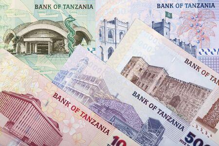 Old Tanzanian money - shilling a business background Standard-Bild
