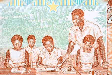Teacher and students from old Ghanaian money