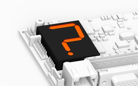 technologists: FAQ Hardware. Circuit board with a Led Display showing a question mark