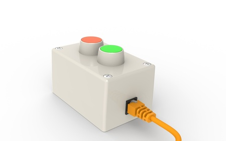 Yes or No. Red an Green buttons with Network Cable photo