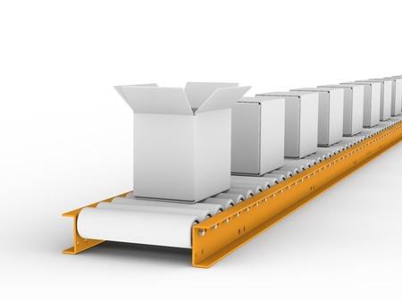 Conveyor belt withe boxes photo