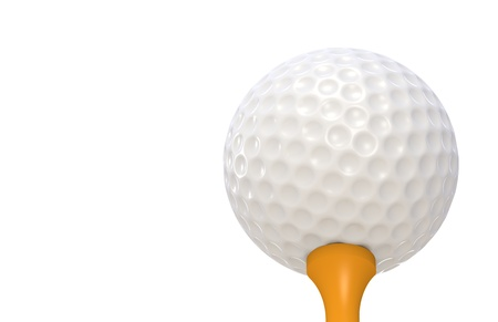 Golf ball on Orange tee. Perspective. Low angle view Stock Photo - 9222739