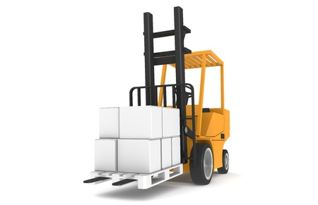 Forklift with Pallet, Front view. Part of a Warehouse series.   Stock Photo - 9222760