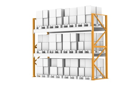 Pallet Rack, Full. Isolated on white. Part of warehouse series  photo