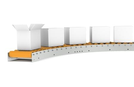 Conveyor Belt, one open Box  Stock Photo - 9222763