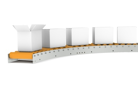Conveyor Belt, one open Box Stock Photo - 9222763