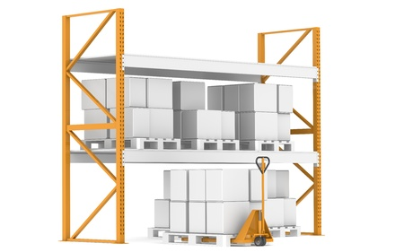 Shelves with Hand Truck and Pallets. Part of warehouse series.   photo