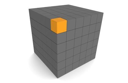 Cube, dark Gray and with one orange Block photo