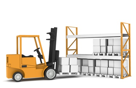 Forklift loading Pallet Rack. Part of a Warehouse series. photo