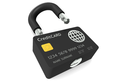 Credit Card made like a Padlock symbolizing Safe Payments Stock Photo - 9262664