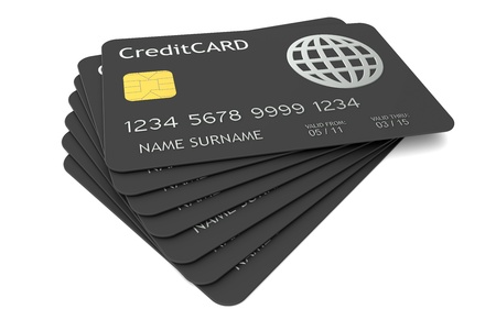 electronic card: Stack of Credit Cards. Isolated on white  Stock Photo