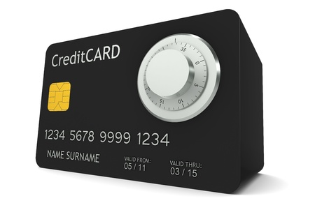 vaulted door: Online Banking. A credit card made like a safe with Combination Lock