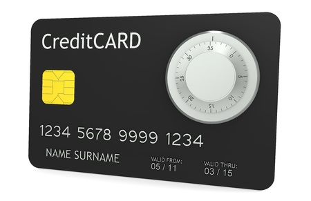 A credit card with Combination Lock Stock Photo - 9262667