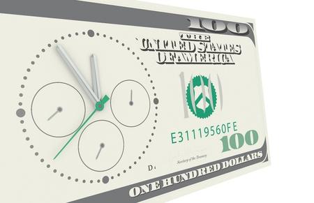 cron�grafo: El tiempo es dinero. Un cron�grafo montado en un billete de 100 d�lares Foto de archivo