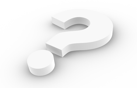 symbol  punctuation: Question Mark, white with shadows. Stock Photo