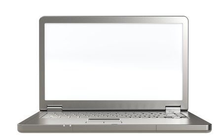Laptop with white screen. Copy space