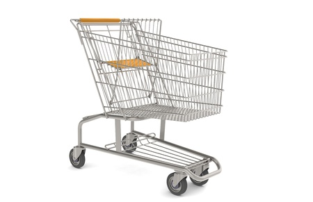 shoppings: Steel Shopping Trolley with orange seat and handle.