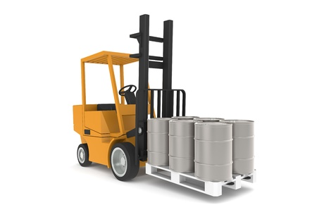 Forklift with Pallet, Front view. Part of a Warehouse series.   photo