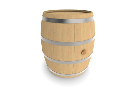 ferment: Wood barrel isolated on white