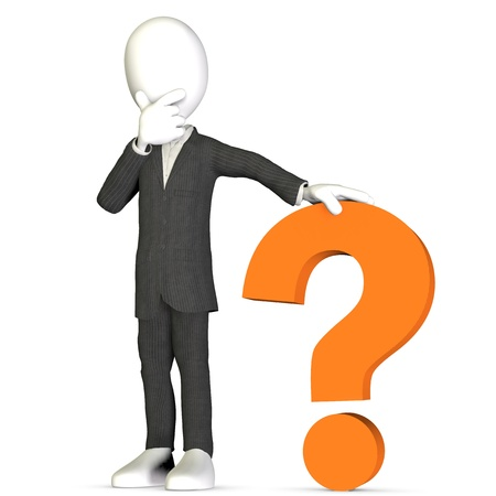 3D Human in a business suit with an orange question mark. Stock Photo