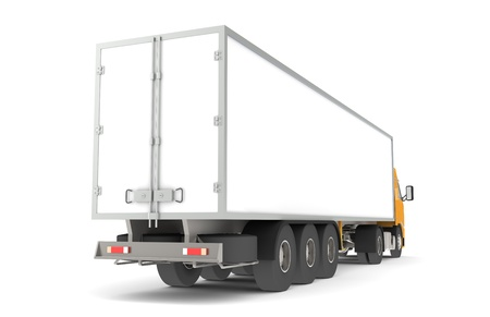 Logistics - Trucking. Rear side view of a Trailer Semi-Truck. Part of warehouse series.  Stock Photo
