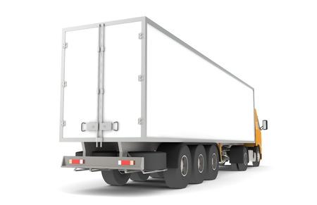 trucker: Logistics - Trucking. Rear side view of a Trailer Semi-Truck. Part of warehouse series.  Stock Photo