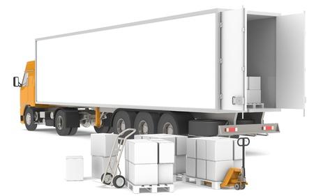 remolque: Remolque abierto con paletas, cuadros y camiones. Parte de la serie de almac�n.