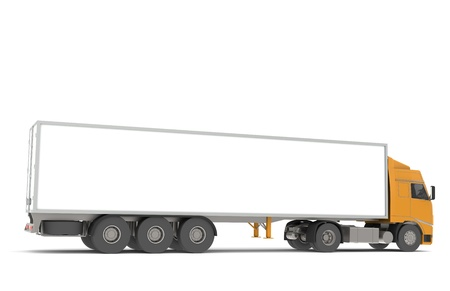 Tractor Trailer Semi-Truck. Part of warehouse series. photo
