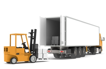freight transportation: Forklift loading a Trailer. Part of warehouse series. Stock Photo