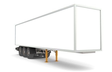semitrailer: Perspective view of a Trailer. Copy space. Part of warehouse series.