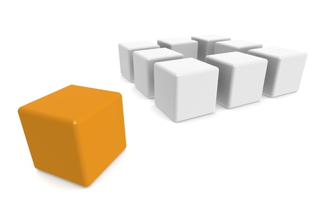 thinking out of the box: One orange cube Outside The Box pattern Stock Photo