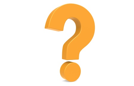 symbol  punctuation: Orange Question Mark, standing vertically .