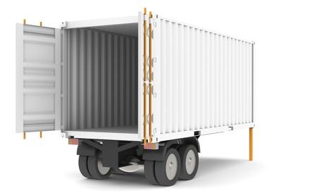 remolque: Trailer de contenedor abierta y vac�a. Parte de la serie de almac�n.
