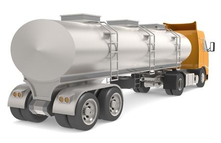 cilindro de gas: Cami�n cisterna aislada en blanco Foto de archivo