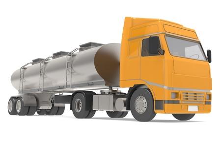 autobotte: Camion cisterna isolato su bianco, vista frontale