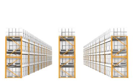 Etagères dans une rangée. Une partie de la série Warehouse.