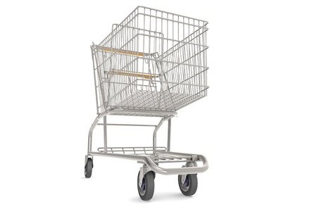 shoppings: Steel Shopping Trolley with orange seat and handle.  Front view. Stock Photo