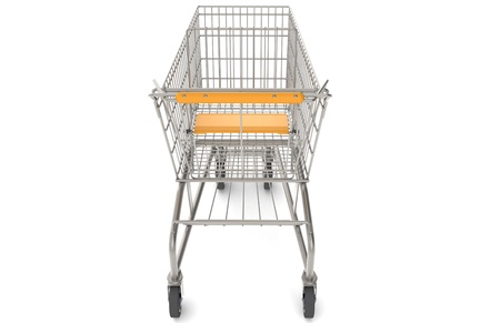 shoppings: Steel Shopping Trolley with orange seat and handle. Rear view  Stock Photo