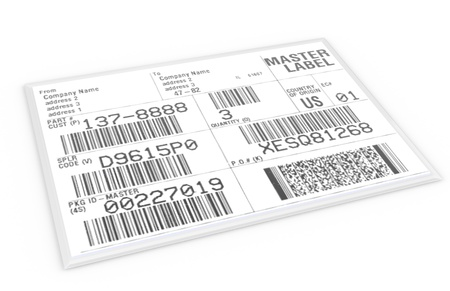 barcodes: Label with sample text and barcodes