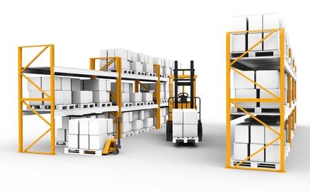 Les étagères, des palettes et des camions. Une partie de la série d'entrepôt.
