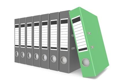 Office folders, one green photo