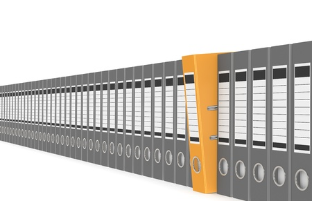 Office folders in a row, one orange photo
