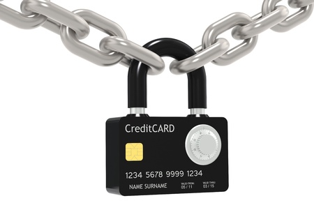 vaulted door: Credit Card made like a Padlock, with Combination Lock. Chain.
