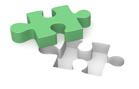 Jigsaw puzzle, one green piece Stock Photo - 9614753
