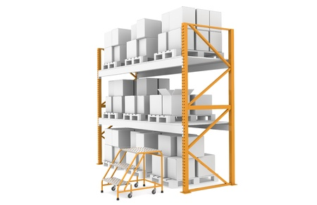 three shelves: Shelves, with three step stairs for manual picking.  Part of Warehouse series Stock Photo