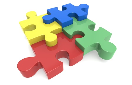 google: Blue, yellow, red and green Puzzle