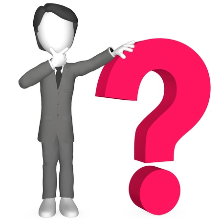 3d Human with a Red Question Mark  Stock Photo - 9713403