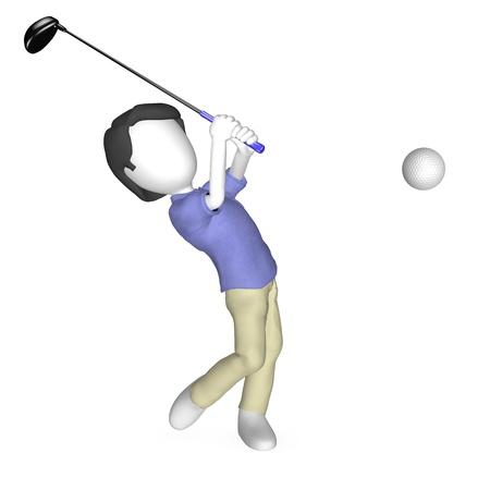 3d Human Playing Golf.  photo